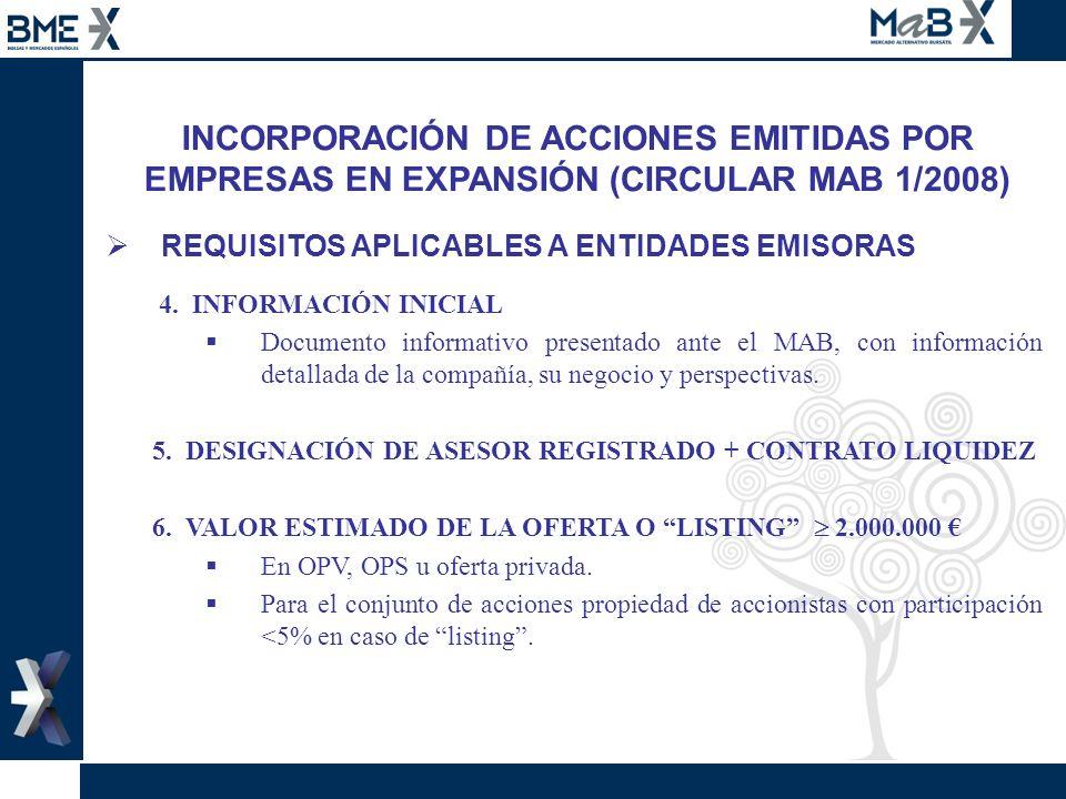 INCORPORACIÓN DE ACCIONES EMITIDAS POR EMPRESAS EN EXPANSIÓN (CIRCULAR MAB 1/2008) REQUISITOS APLICABLES A ENTIDADES EMISORAS 4. INFORMACIÓN INICIAL D