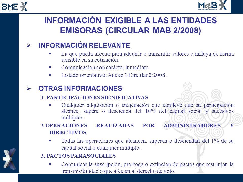 INFORMACIÓN EXIGIBLE A LAS ENTIDADES EMISORAS (CIRCULAR MAB 2/2008) INFORMACIÓN RELEVANTE La que pueda afectar para adquirir o transmitir valores e in