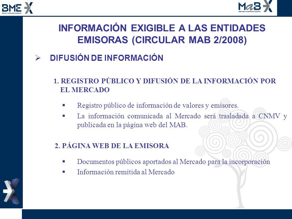 INFORMACIÓN EXIGIBLE A LAS ENTIDADES EMISORAS (CIRCULAR MAB 2/2008) DIFUSIÓN DE INFORMACIÓN 1. REGISTRO PÚBLICO Y DIFUSIÓN DE LA INFORMACIÓN POR EL ME