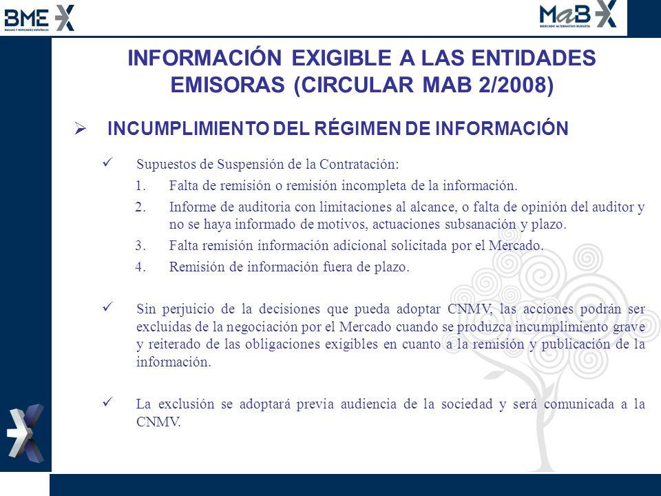 INFORMACIÓN EXIGIBLE A LAS ENTIDADES EMISORAS (CIRCULAR MAB 2/2008) INCUMPLIMIENTO DEL RÉGIMEN DE INFORMACIÓN Supuestos de Suspensión de la Contrataci