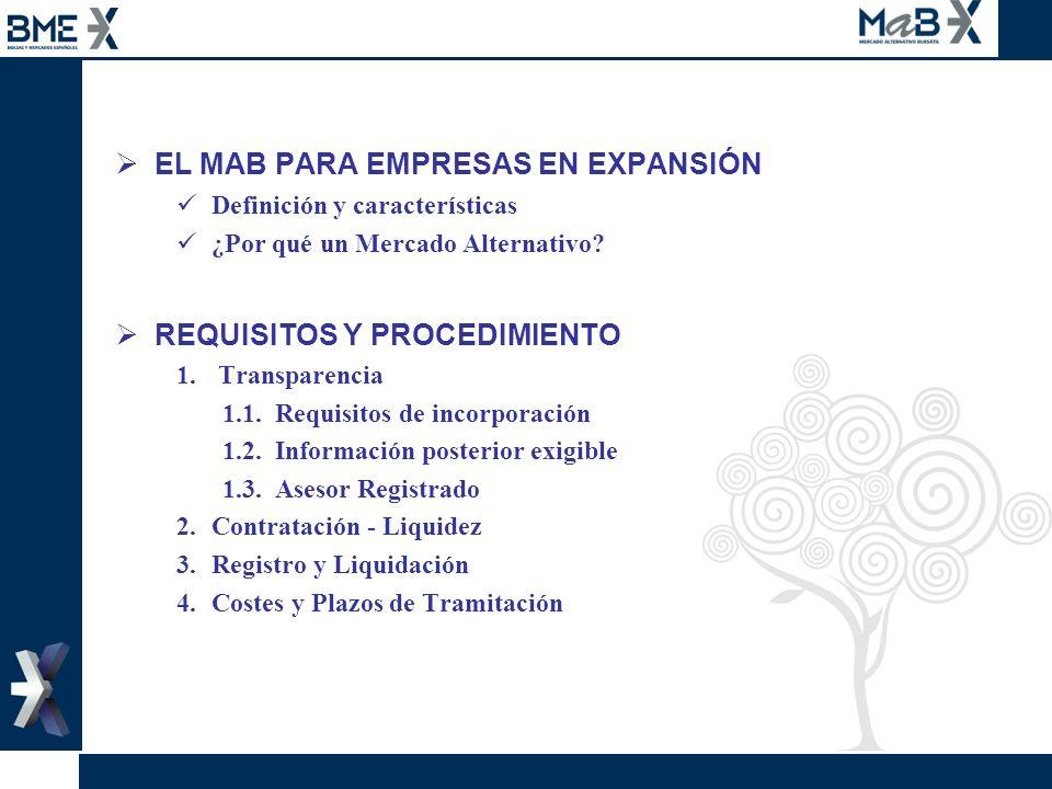 EL MAB PARA EMPRESAS EN EXPANSIÓN Definición y características ¿Por qué un Mercado Alternativo? REQUISITOS Y PROCEDIMIENTO 1. Transparencia 1.1. Requi