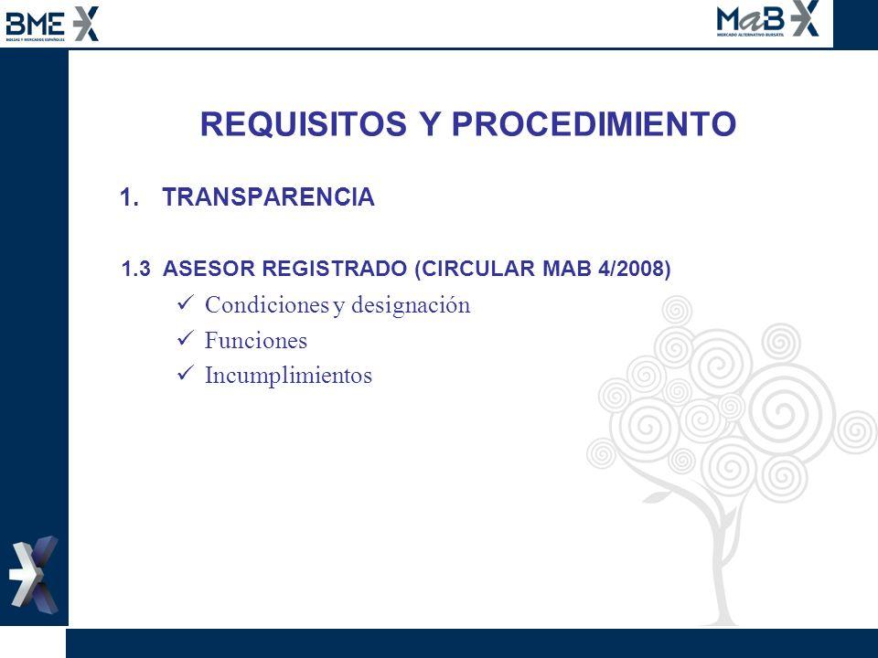 REQUISITOS Y PROCEDIMIENTO 1.TRANSPARENCIA 1.3 ASESOR REGISTRADO (CIRCULAR MAB 4/2008) Condiciones y designación Funciones Incumplimientos