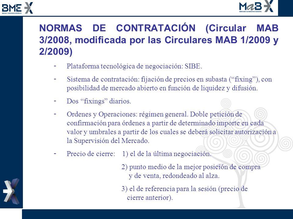 NORMAS DE CONTRATACIÓN (Circular MAB 3/2008, modificada por las Circulares MAB 1/2009 y 2/2009) - Plataforma tecnológica de negociación: SIBE. - Siste