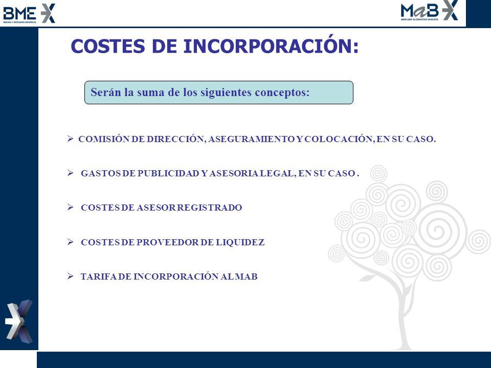 COSTES DE INCORPORACIÓN: Serán la suma de los siguientes conceptos: COMISIÓN DE DIRECCIÓN, ASEGURAMIENTO Y COLOCACIÓN, EN SU CASO. GASTOS DE PUBLICIDA