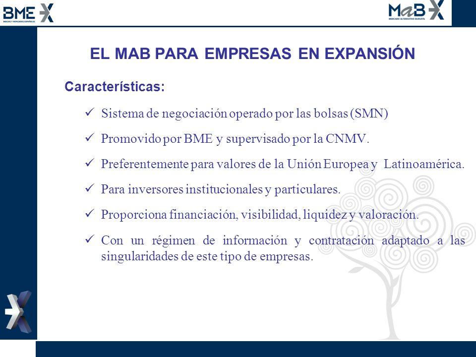 EL MAB PARA EMPRESAS EN EXPANSIÓN Características: Sistema de negociación operado por las bolsas (SMN) Promovido por BME y supervisado por la CNMV. Pr