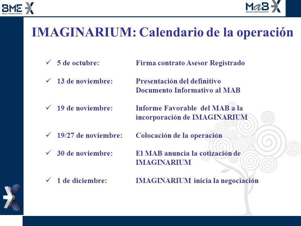 IMAGINARIUM: Calendario de la operación 5 de octubre:Firma contrato Asesor Registrado 13 de noviembre:Presentación del definitivo Documento Informativ