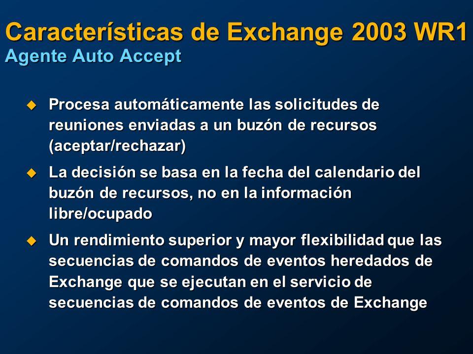 Características de Exchange 2003 WR1 Agente Auto Accept Procesa automáticamente las solicitudes de reuniones enviadas a un buzón de recursos (aceptar/rechazar) Procesa automáticamente las solicitudes de reuniones enviadas a un buzón de recursos (aceptar/rechazar) La decisión se basa en la fecha del calendario del buzón de recursos, no en la información libre/ocupado La decisión se basa en la fecha del calendario del buzón de recursos, no en la información libre/ocupado Un rendimiento superior y mayor flexibilidad que las secuencias de comandos de eventos heredados de Exchange que se ejecutan en el servicio de secuencias de comandos de eventos de Exchange Un rendimiento superior y mayor flexibilidad que las secuencias de comandos de eventos heredados de Exchange que se ejecutan en el servicio de secuencias de comandos de eventos de Exchange