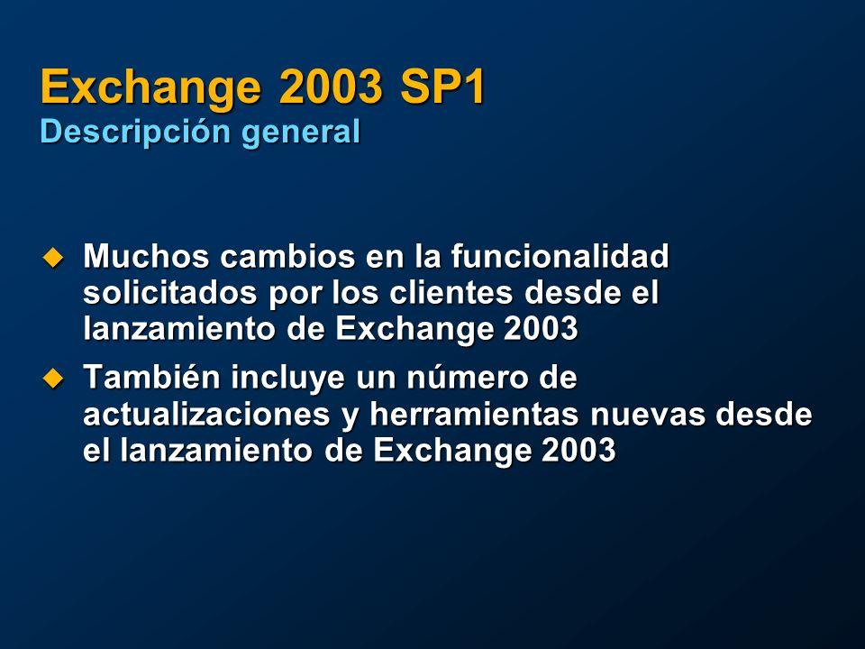 Exchange 2003 SP1 Descripción general Muchos cambios en la funcionalidad solicitados por los clientes desde el lanzamiento de Exchange 2003 Muchos cambios en la funcionalidad solicitados por los clientes desde el lanzamiento de Exchange 2003 También incluye un número de actualizaciones y herramientas nuevas desde el lanzamiento de Exchange 2003 También incluye un número de actualizaciones y herramientas nuevas desde el lanzamiento de Exchange 2003