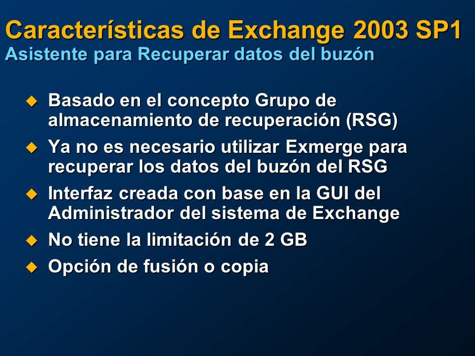 Características de Exchange 2003 SP1 Asistente para Recuperar datos del buzón Basado en el concepto Grupo de almacenamiento de recuperación (RSG) Basa