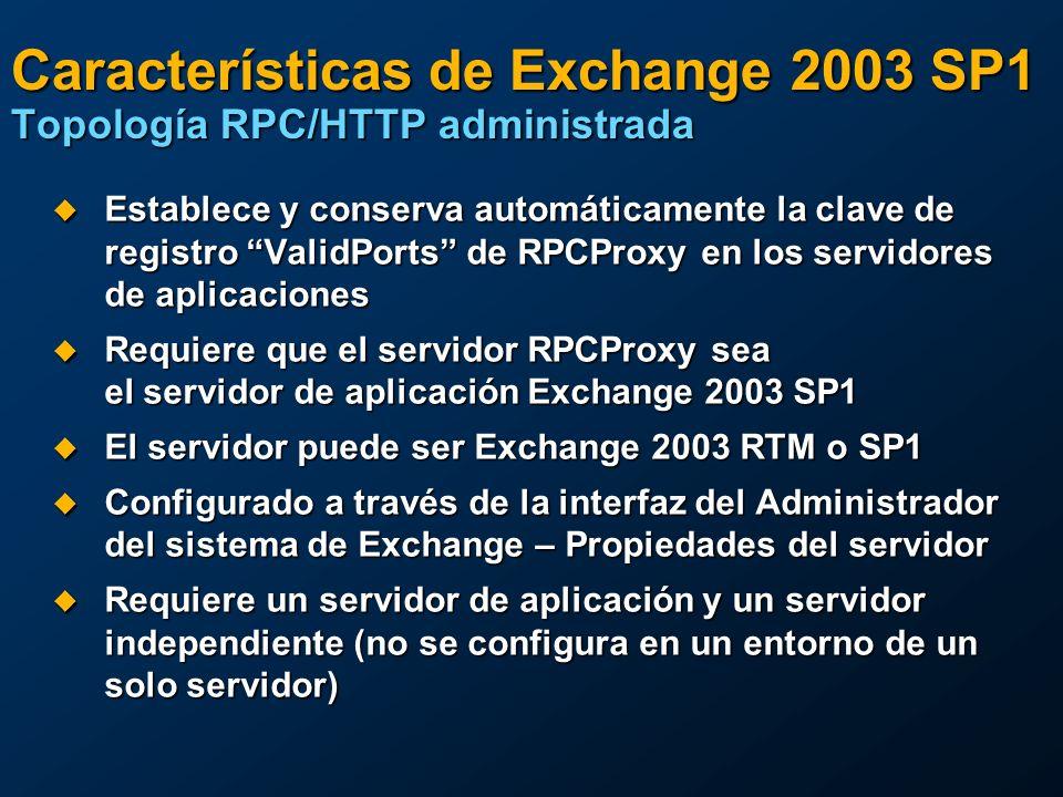 Características de Exchange 2003 SP1 Topología RPC/HTTP administrada Establece y conserva automáticamente la clave de registro ValidPorts de RPCProxy