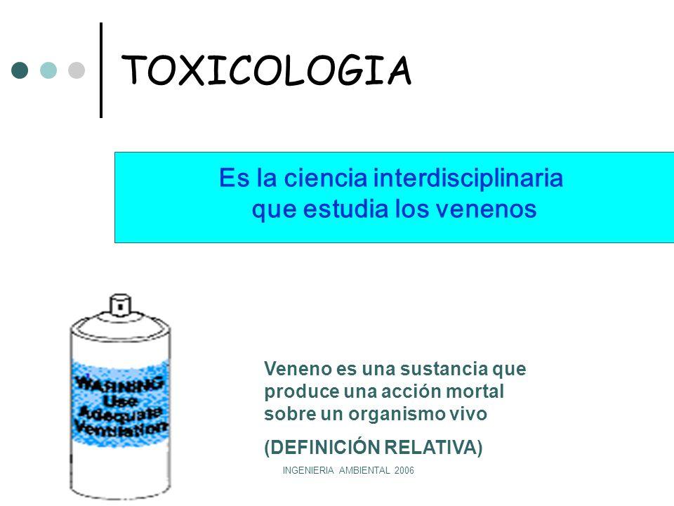 INGENIERIA AMBIENTAL 2006 TOXICOLOGIA Es la ciencia interdisciplinaria que estudia los venenos Veneno es una sustancia que produce una acción mortal sobre un organismo vivo (DEFINICIÓN RELATIVA)