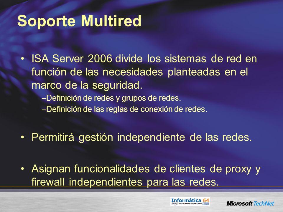 Soporte Multired ISA Server 2006 divide los sistemas de red en función de las necesidades planteadas en el marco de la seguridad. –Definición de redes
