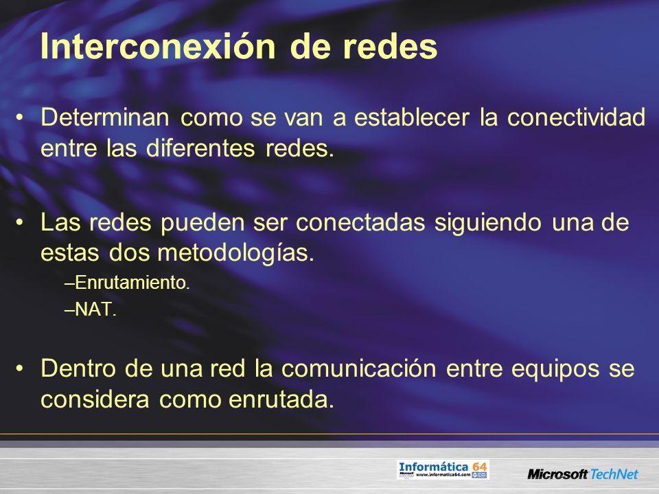 Interconexión de redes Determinan como se van a establecer la conectividad entre las diferentes redes. Las redes pueden ser conectadas siguiendo una d