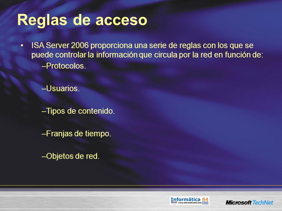 Reglas de acceso ISA Server 2006 proporciona una serie de reglas con los que se puede controlar la información que circula por la red en función de: –