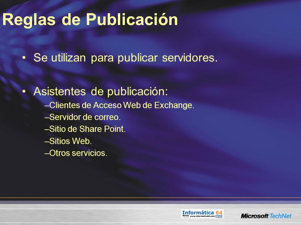 Reglas de Publicación Se utilizan para publicar servidores. Asistentes de publicación: –Clientes de Acceso Web de Exchange. –Servidor de correo. –Siti