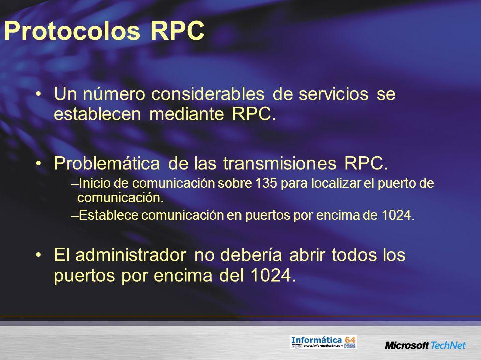 Protocolos RPC Un número considerables de servicios se establecen mediante RPC. Problemática de las transmisiones RPC. –Inicio de comunicación sobre 1