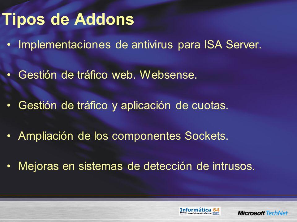 Tipos de Addons Implementaciones de antivirus para ISA Server. Gestión de tráfico web. Websense. Gestión de tráfico y aplicación de cuotas. Ampliación