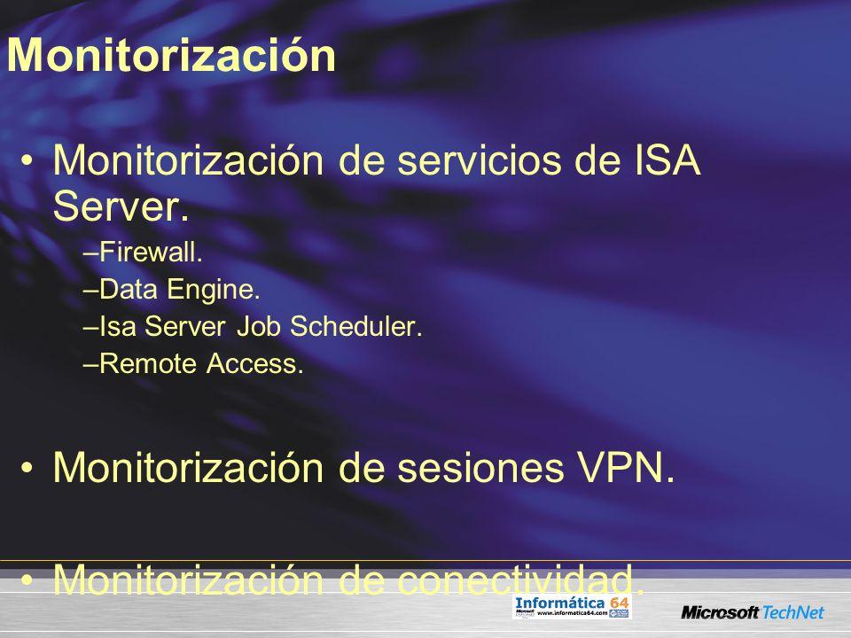 Monitorización de servicios de ISA Server. –Firewall. –Data Engine. –Isa Server Job Scheduler. –Remote Access. Monitorización de sesiones VPN. Monitor