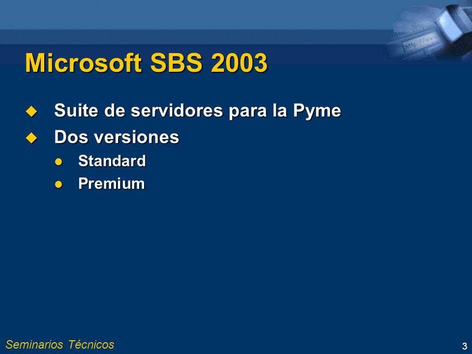 Seminarios Técnicos 3 Microsoft SBS 2003 Suite de servidores para la Pyme Suite de servidores para la Pyme Dos versiones Dos versiones Standard Standard Premium Premium