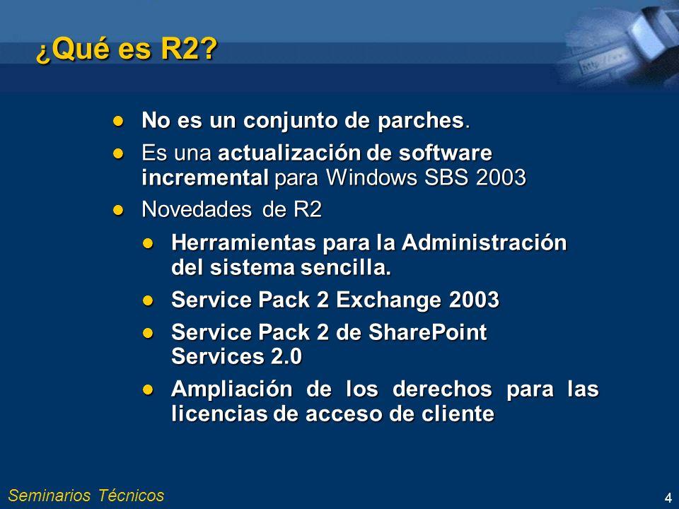 Seminarios Técnicos 4 ¿ Qué es R2.No es un conjunto de parches.