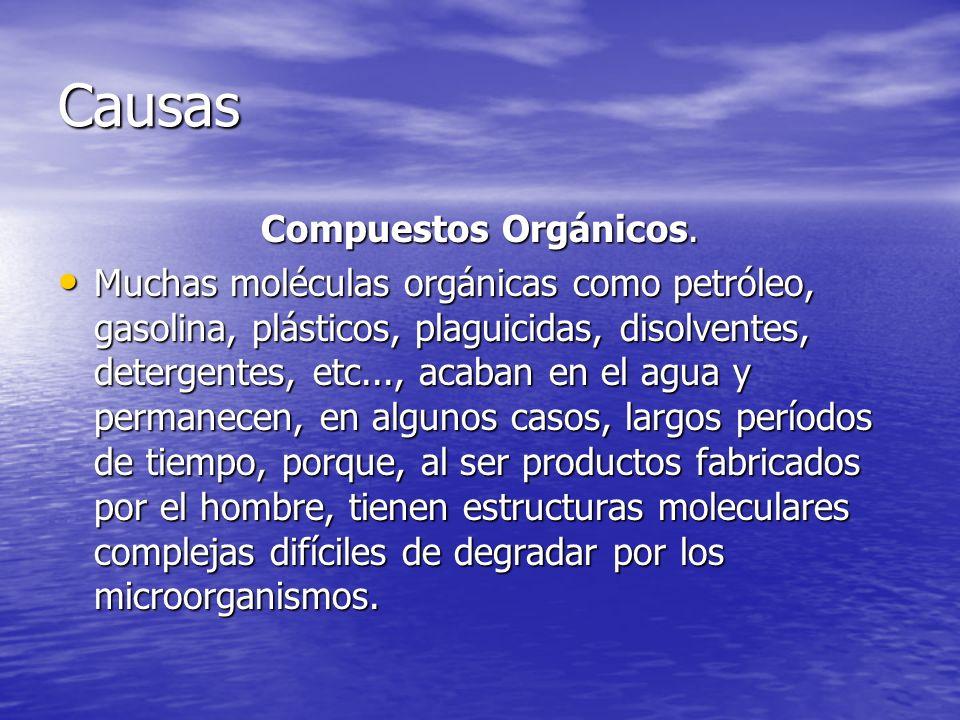Causas Compuestos Orgánicos. Muchas moléculas orgánicas como petróleo, gasolina, plásticos, plaguicidas, disolventes, detergentes, etc..., acaban en e