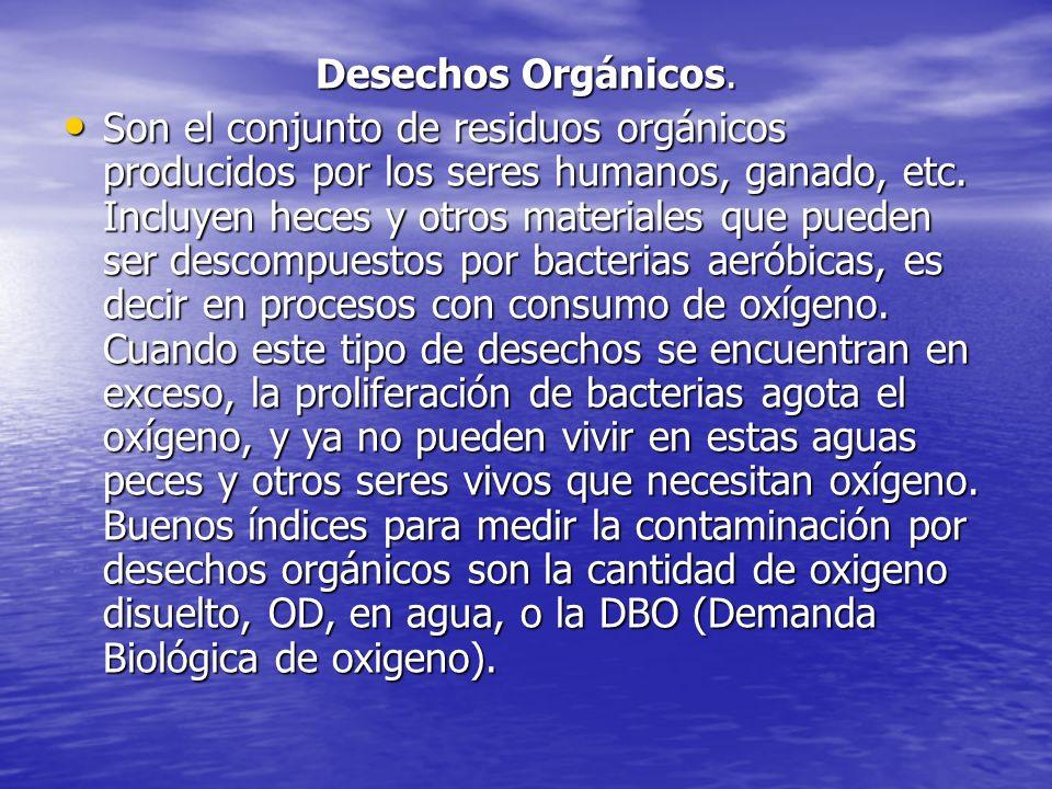 Desechos Orgánicos. Son el conjunto de residuos orgánicos producidos por los seres humanos, ganado, etc. Incluyen heces y otros materiales que pueden