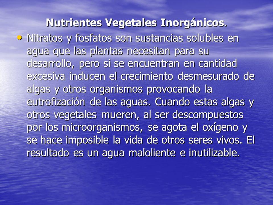 Nutrientes Vegetales Inorgánicos. Nitratos y fosfatos son sustancias solubles en agua que las plantas necesitan para su desarrollo, pero si se encuent