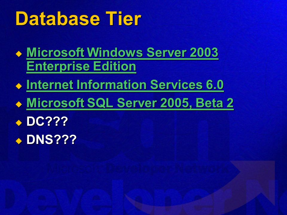Database Tier Microsoft Windows Server 2003 Enterprise Edition Microsoft Windows Server 2003 Enterprise Edition Microsoft Windows Server 2003 Enterpri
