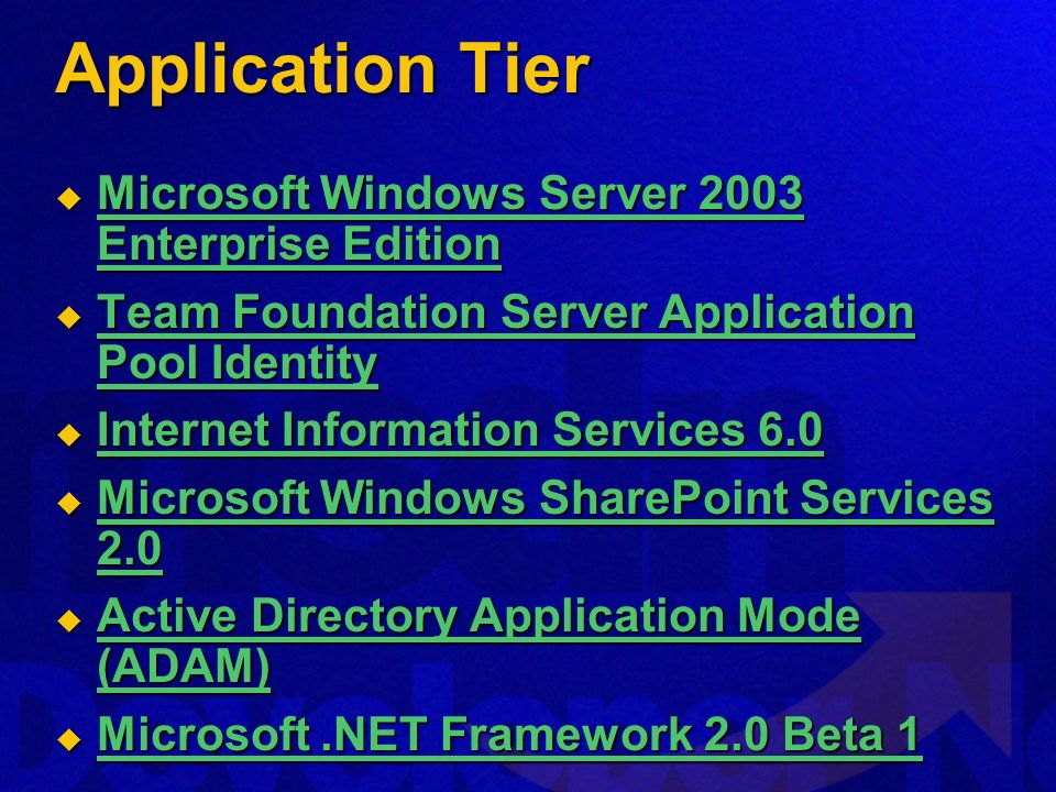 Application Tier Microsoft Windows Server 2003 Enterprise Edition Microsoft Windows Server 2003 Enterprise Edition Microsoft Windows Server 2003 Enter