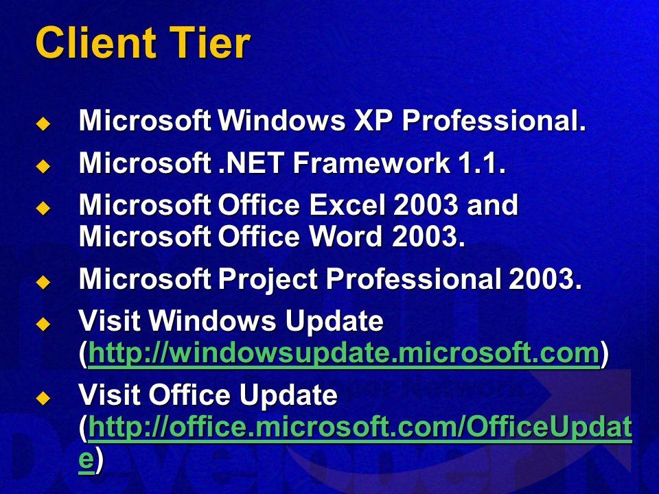 Client Tier Microsoft Windows XP Professional. Microsoft Windows XP Professional.