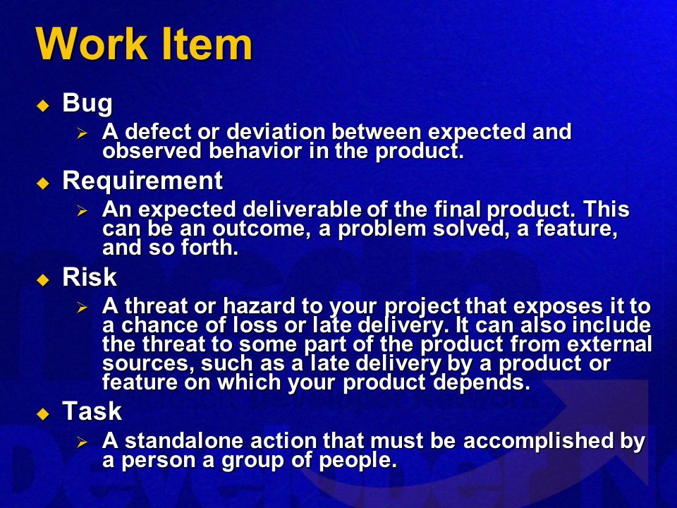 Work Item Bug Bug A defect or deviation between expected and observed behavior in the product. A defect or deviation between expected and observed beh