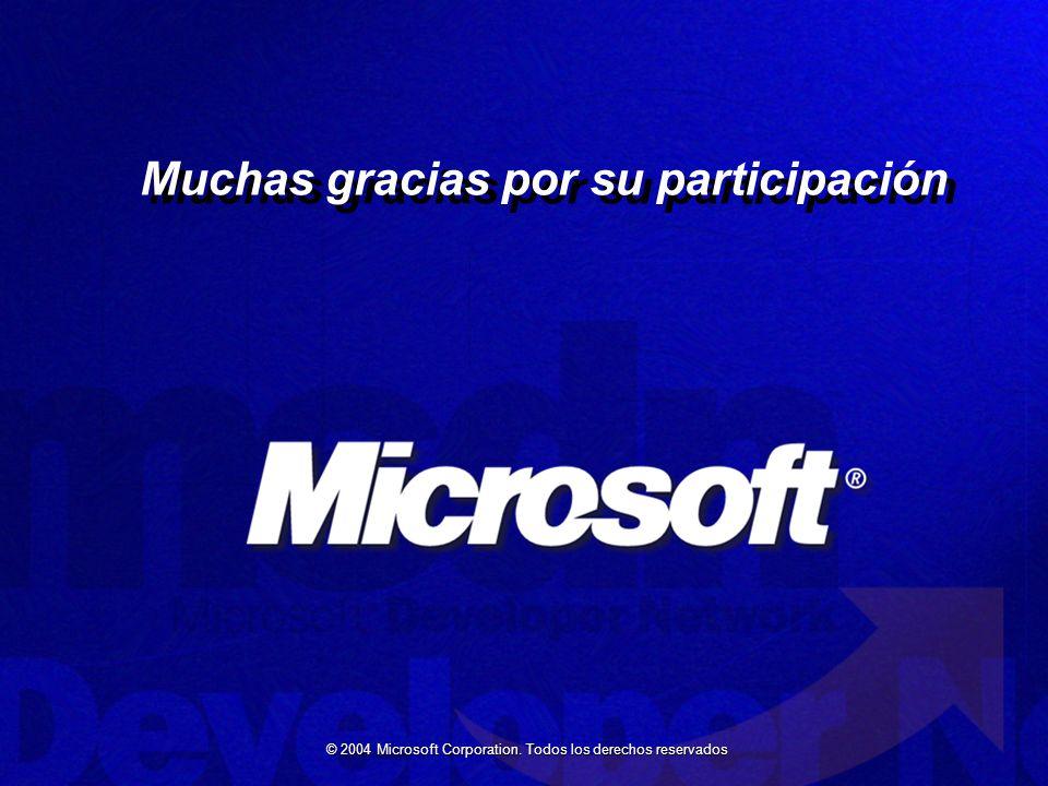 © 2004 Microsoft Corporation. Todos los derechos reservados Muchas gracias por su participación