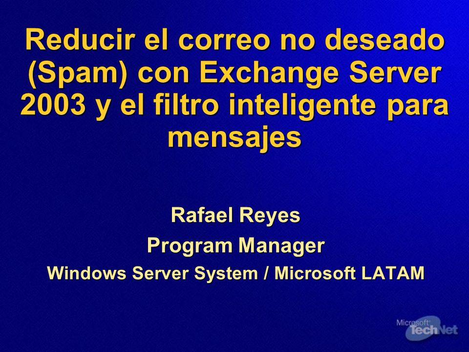 Reducir el correo no deseado (Spam) con Exchange Server 2003 y el filtro inteligente para mensajes Rafael Reyes Program Manager Windows Server System