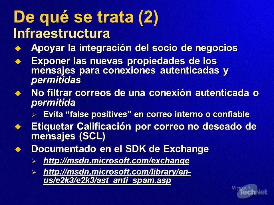 De qué se trata (2) Infraestructura Apoyar la integración del socio de negocios Apoyar la integración del socio de negocios Exponer las nuevas propied