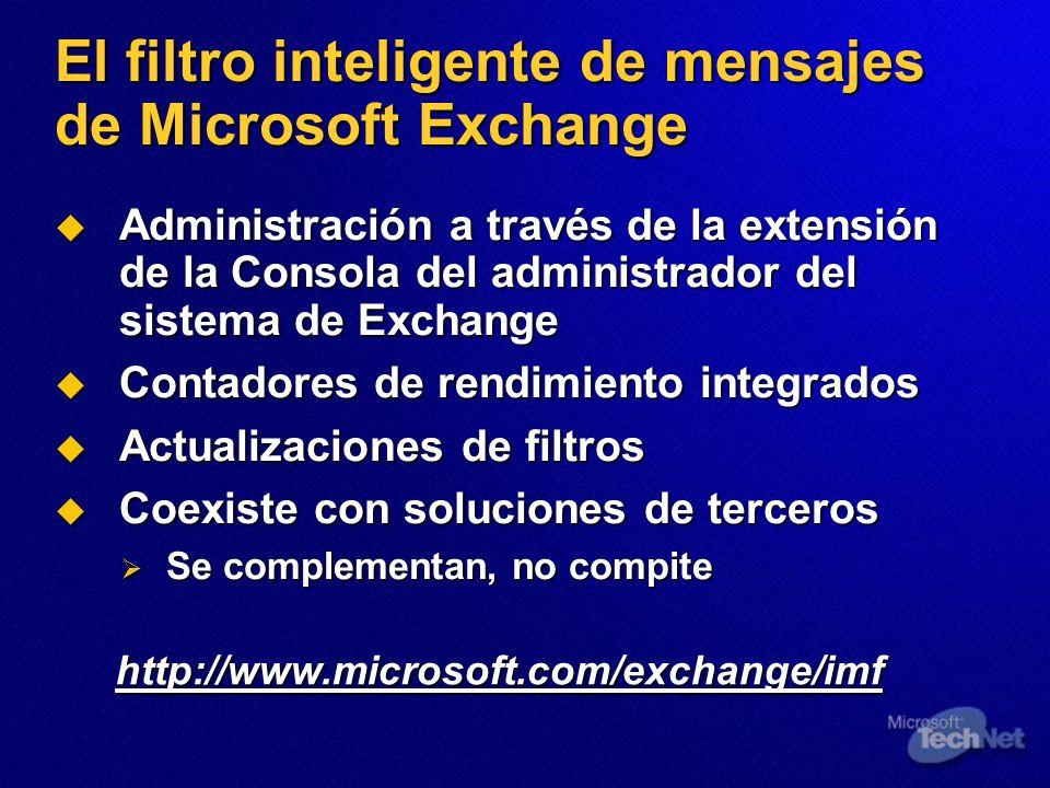 El filtro inteligente de mensajes de Microsoft Exchange Administración a través de la extensión de la Consola del administrador del sistema de Exchang