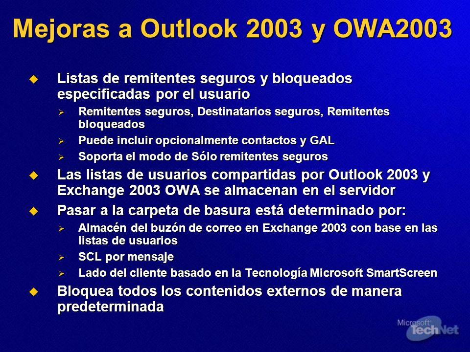 Mejoras a Outlook 2003 y OWA2003 Listas de remitentes seguros y bloqueados especificadas por el usuario Listas de remitentes seguros y bloqueados espe
