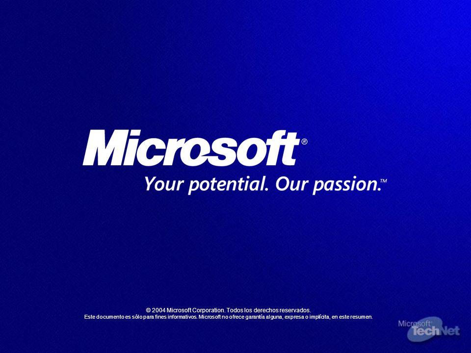 © 2004 Microsoft Corporation. Todos los derechos reservados. Este documento es sólo para fines informativos. Microsoft no ofrece garantía alguna, expr
