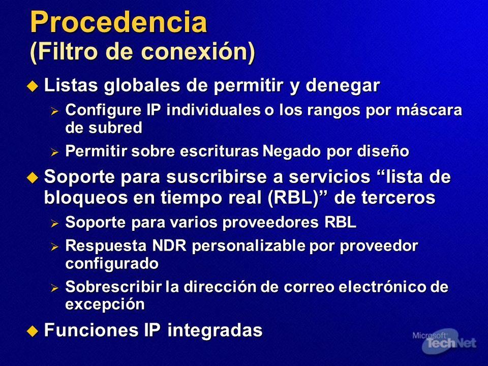 Procedencia (Filtro de conexión) Listas globales de permitir y denegar Listas globales de permitir y denegar Configure IP individuales o los rangos po