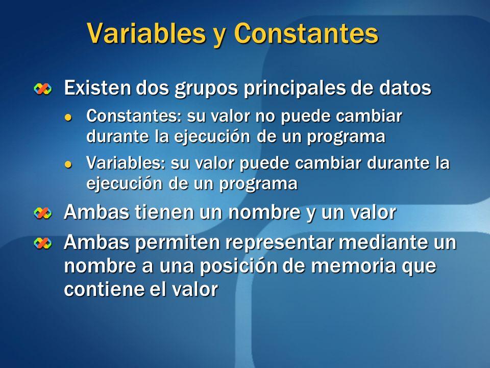 Variables y Constantes Existen dos grupos principales de datos Constantes: su valor no puede cambiar durante la ejecución de un programa Constantes: s