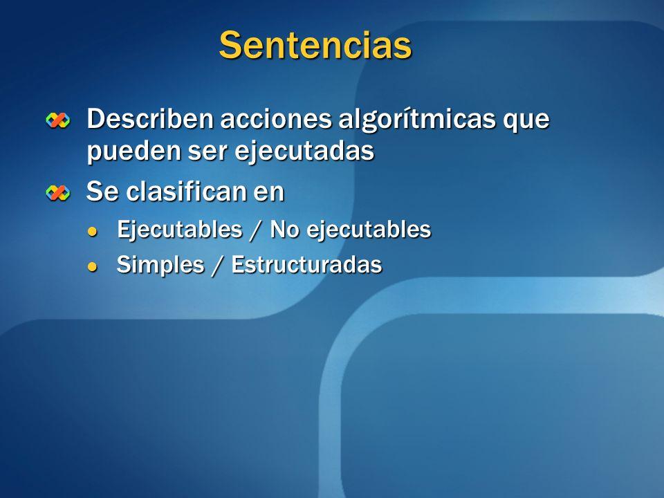 Sentencias Describen acciones algorítmicas que pueden ser ejecutadas Se clasifican en Ejecutables / No ejecutables Ejecutables / No ejecutables Simple