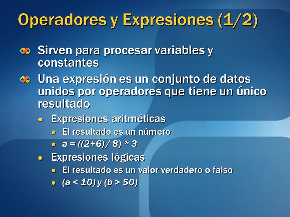 Operadores y Expresiones (1/2) Sirven para procesar variables y constantes Una expresión es un conjunto de datos unidos por operadores que tiene un ún
