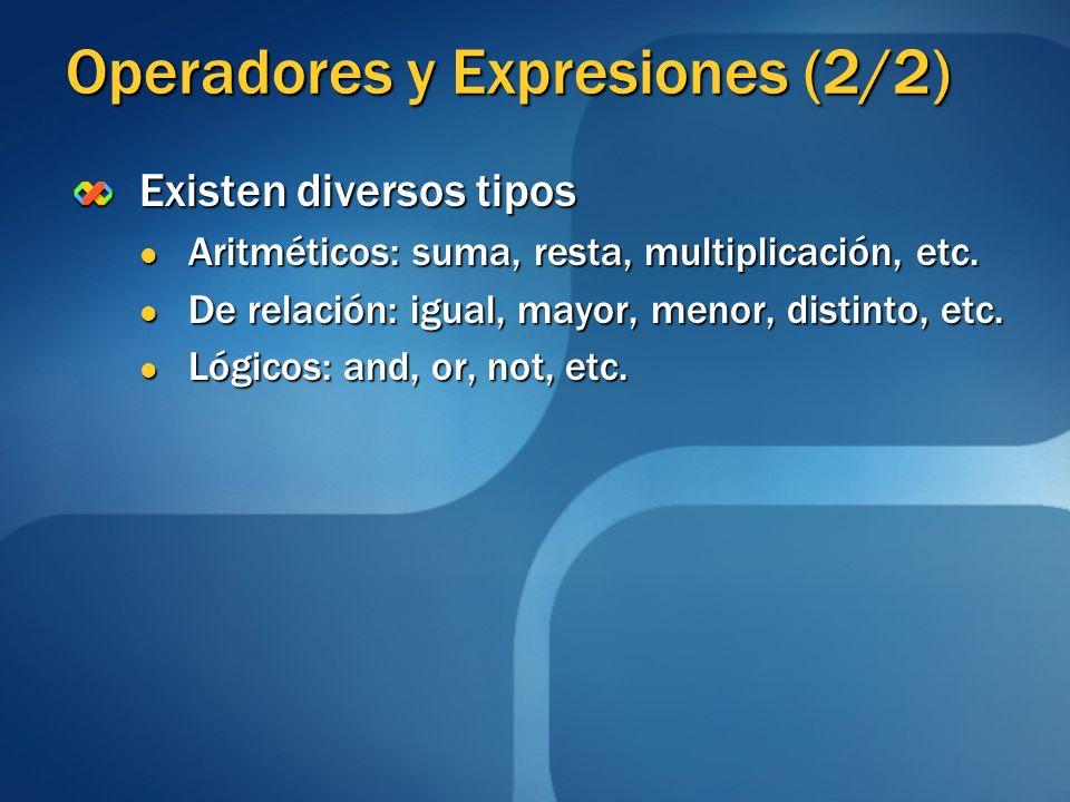 Operadores y Expresiones (2/2) Existen diversos tipos Aritméticos: suma, resta, multiplicación, etc. Aritméticos: suma, resta, multiplicación, etc. De
