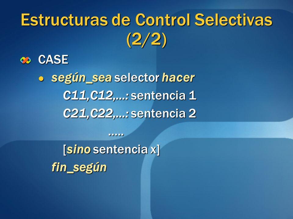 Estructuras de Control Selectivas (2/2) CASE según_sea selector hacer según_sea selector hacer C11,C12,…: sentencia 1 C21,C22,…: sentencia 2 C21,C22,…