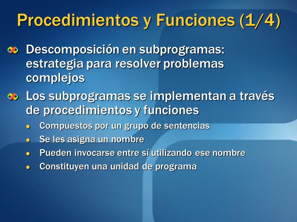 Procedimientos y Funciones (1/4) Descomposición en subprogramas: estrategia para resolver problemas complejos Los subprogramas se implementan a través