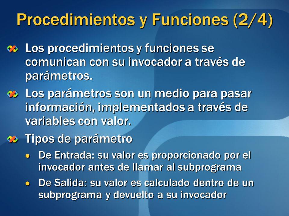 Procedimientos y Funciones (2/4) Los procedimientos y funciones se comunican con su invocador a través de parámetros. Los parámetros son un medio para