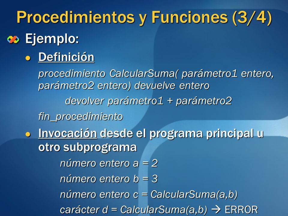 Procedimientos y Funciones (3/4) Ejemplo: Definición Definición procedimiento CalcularSuma( parámetro1 entero, parámetro2 entero) devuelve entero devo