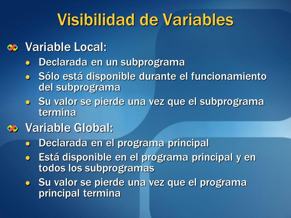 Visibilidad de Variables Variable Local: Declarada en un subprograma Declarada en un subprograma Sólo está disponible durante el funcionamiento del su