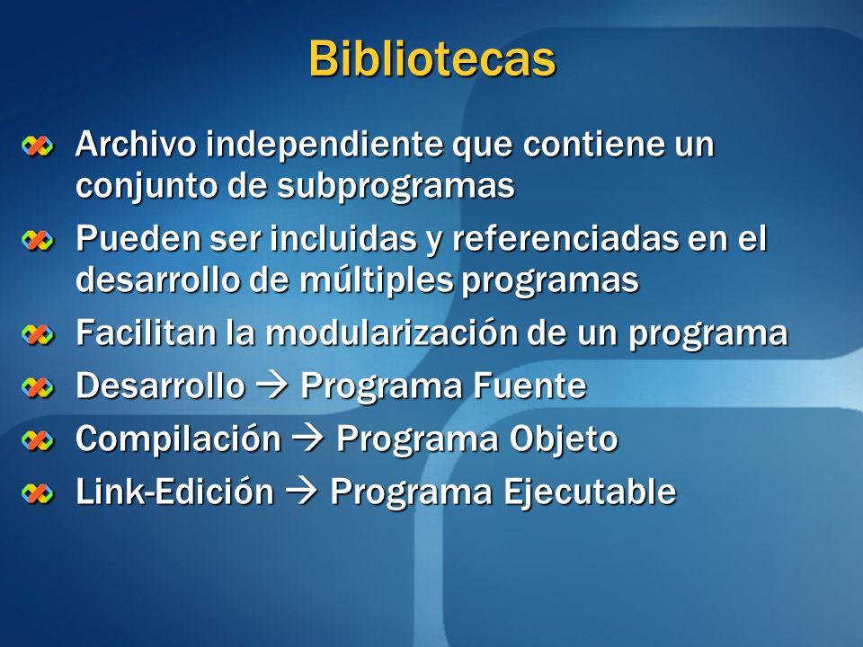 Bibliotecas Archivo independiente que contiene un conjunto de subprogramas Pueden ser incluidas y referenciadas en el desarrollo de múltiples programa