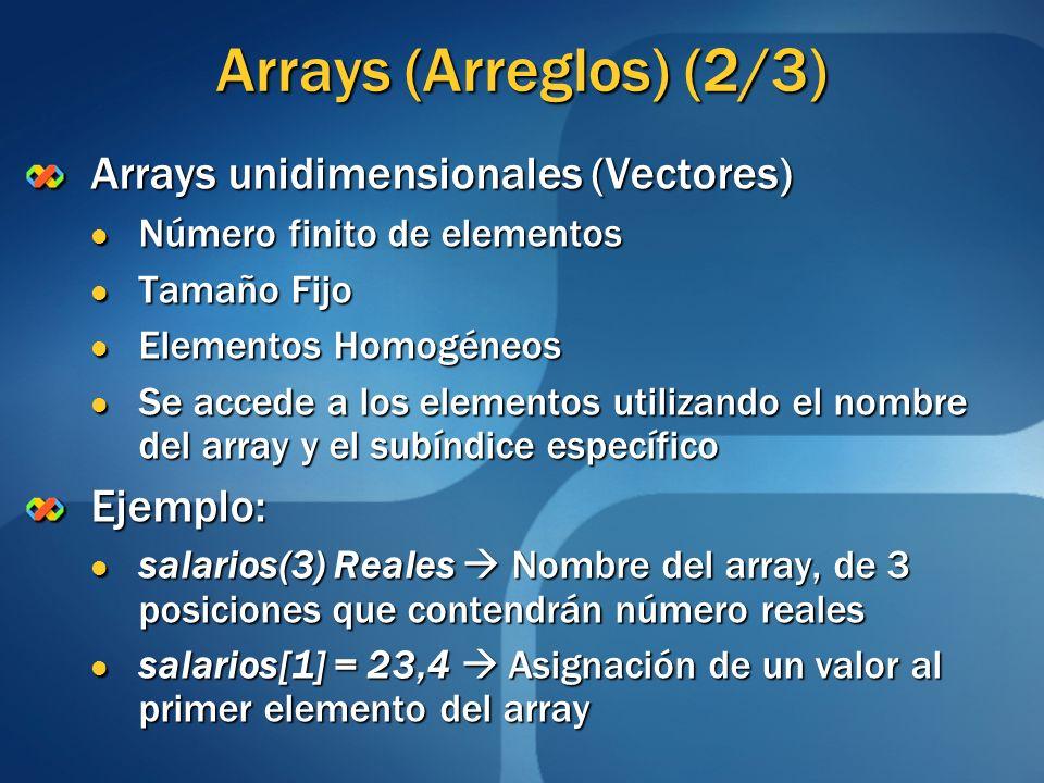 Arrays (Arreglos) (2/3) Arrays unidimensionales (Vectores) Número finito de elementos Número finito de elementos Tamaño Fijo Tamaño Fijo Elementos Hom