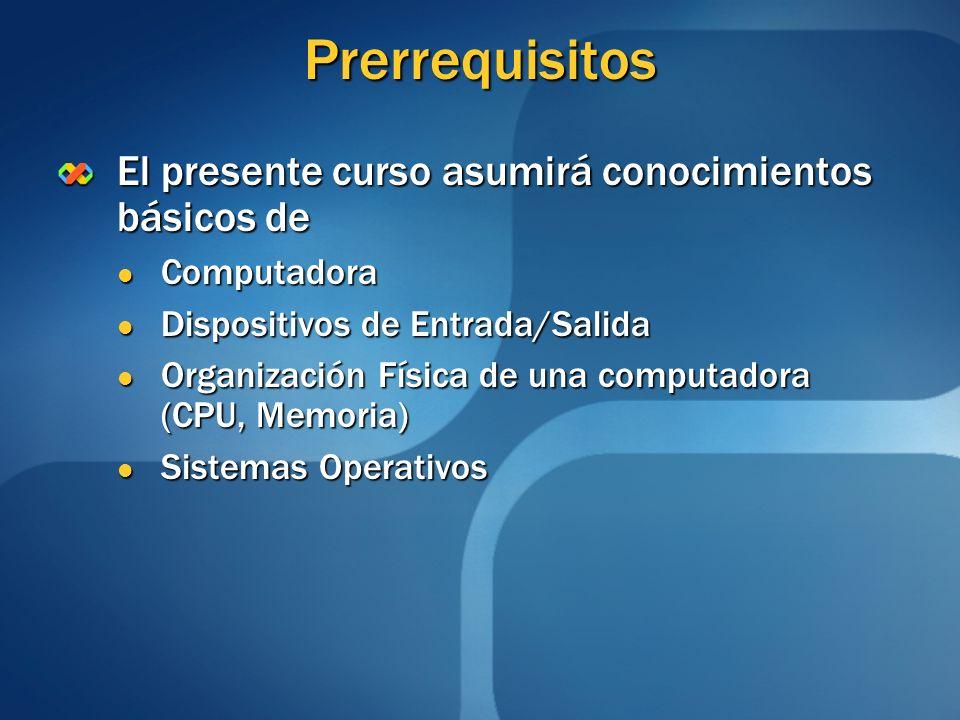Prerrequisitos El presente curso asumirá conocimientos básicos de Computadora Computadora Dispositivos de Entrada/Salida Dispositivos de Entrada/Salid